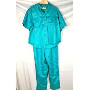 Vintage pant suit teal short sleeve top sporty 80s